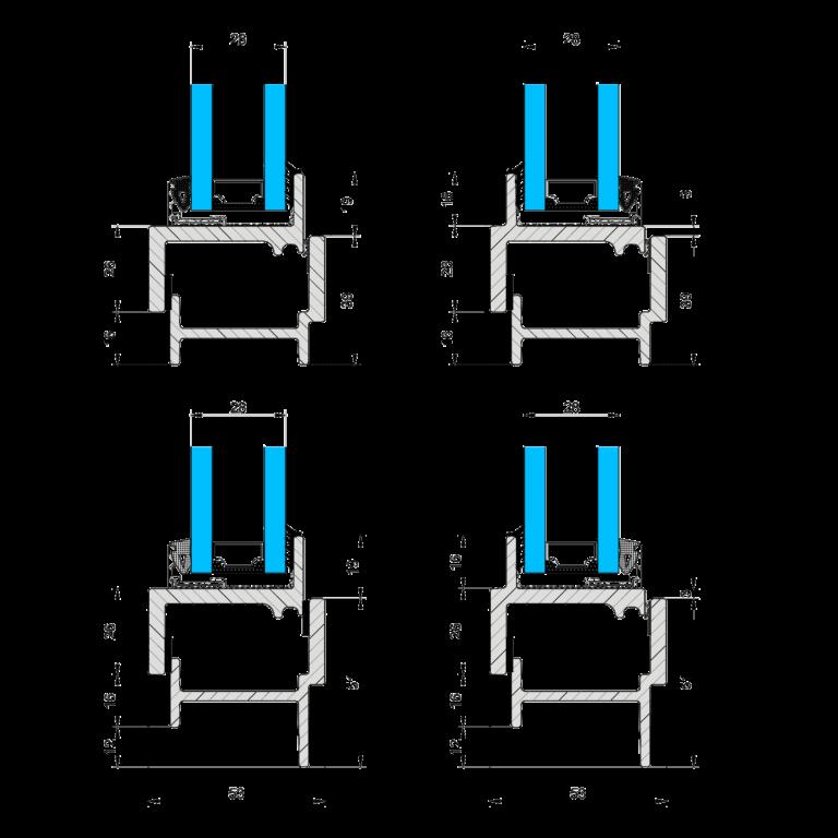 Rysunki techniczne przekrojów profili okiennych.