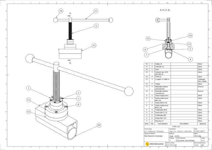 Rysunek techniczny mechanizmu śrubowego, zaprojektowanego przez firmę PROTOPLASTIC